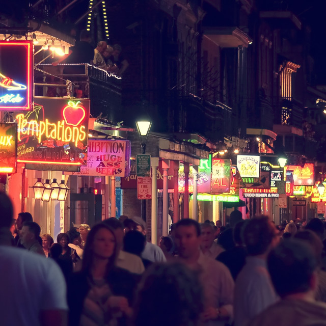 """""""Neon Signs on Bourbon Street at Night in The French Quarter of New Orleans,..."""" stock image"""