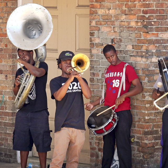 """""""Young Street Performers Play Music For Tips in the French Quarter of New Orleans"""" stock image"""