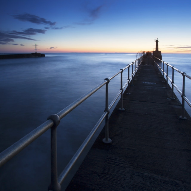 """Harbour Entrance at Dawn Amble by the Sea"" stock image"