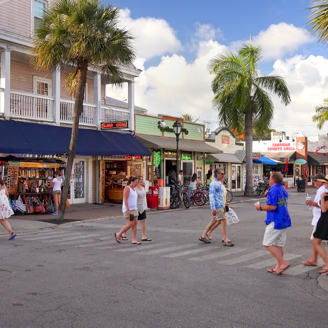 """""""Tourists Shop in Downtown Key West, Florida"""" stock image"""