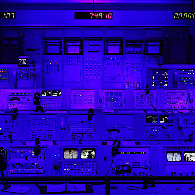 """""""Apollo Mission Launch Control Center at Kennedy Space Center in Cape..."""" stock image"""