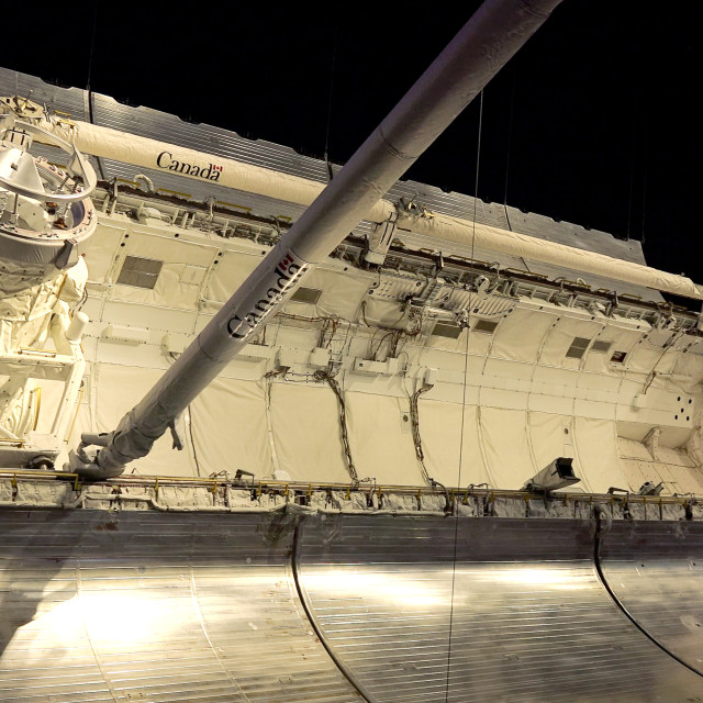 """""""Cargo Bay of Space Shuttle Atlantis at Kennedy Space Center in Cape..."""" stock image"""