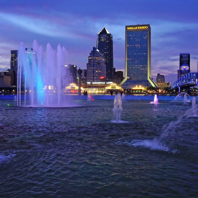 """""""Jacksonville, Florida City Skyline and Water Fountain"""" stock image"""