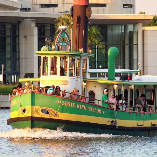 """Water Taxi Along Historic River Street Waterfront in Savannah, Georgia"" stock image"