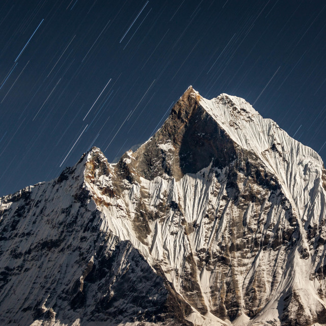 """""""Falling star over Machapuchare"""" stock image"""