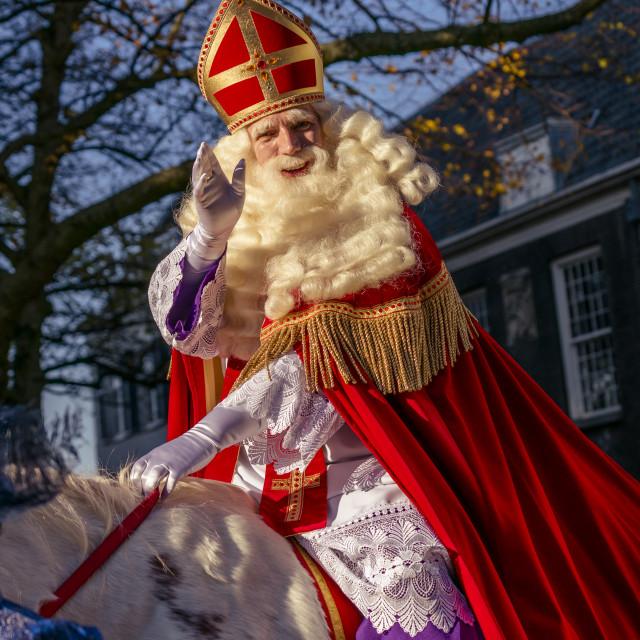 """Sinterklaas waving and smiling"" stock image"