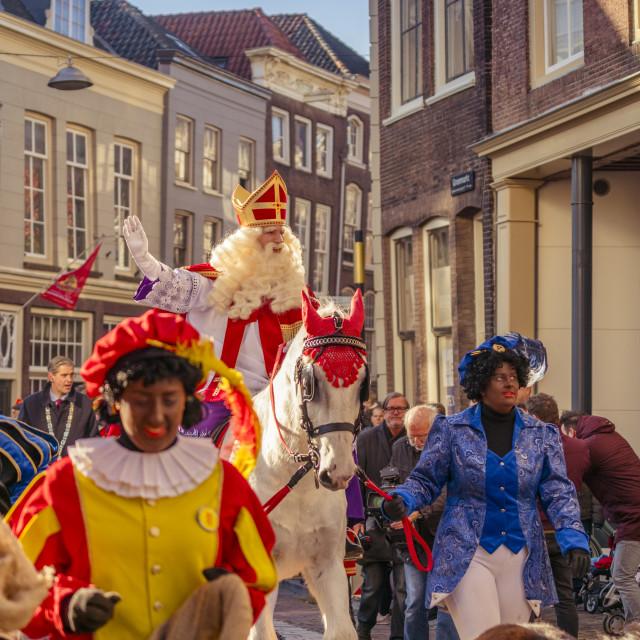 """""""Saint Nicolaas on his white horse Amerigo"""" stock image"""
