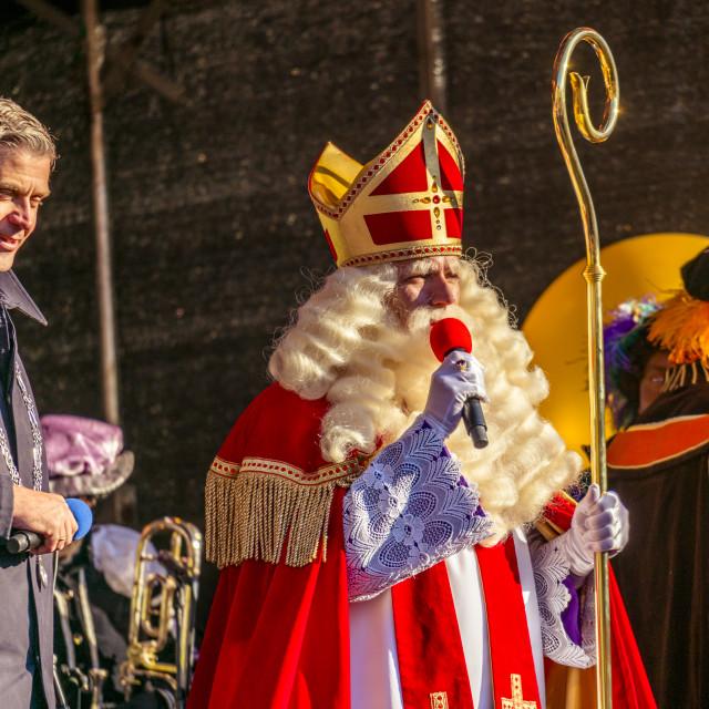"""""""Saint Nicolaas on stage"""" stock image"""