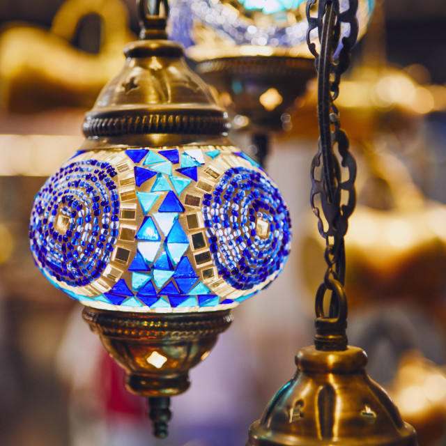 """Lamp at souq in Muscat"" stock image"