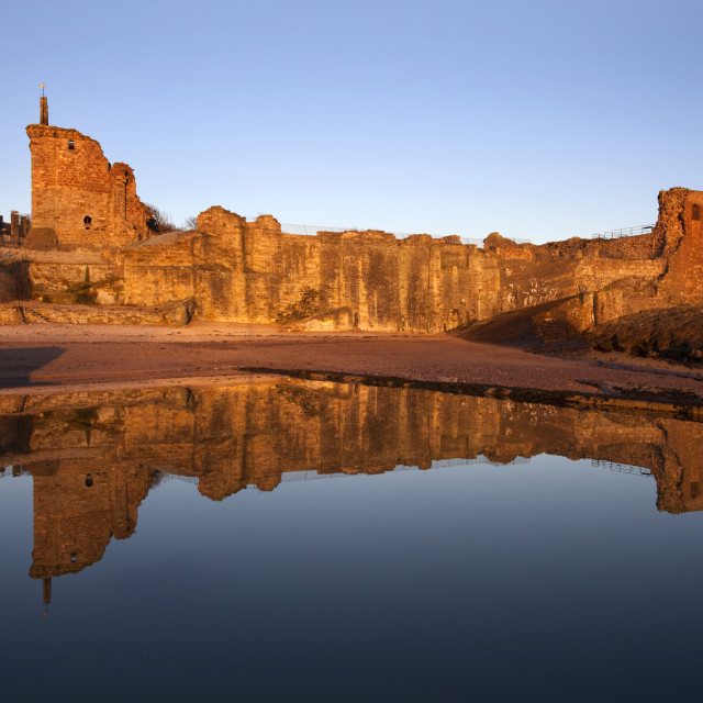 """""""St Andrews Castle at Dawn"""" stock image"""