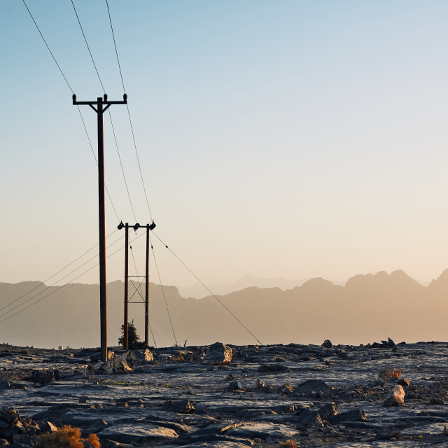 """Power lines in mountains"" stock image"