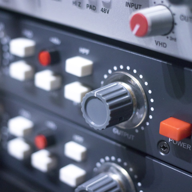 """Recording studio audio controls"" stock image"