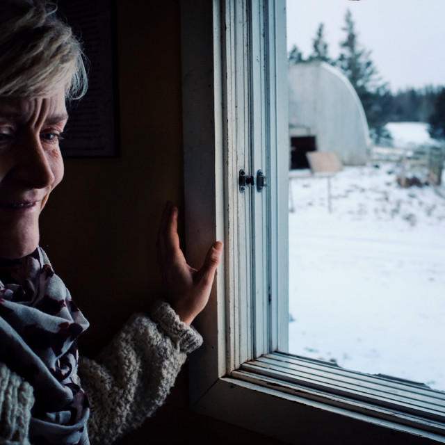 """""""woman looking from inside her home through a window during winter"""" stock image"""