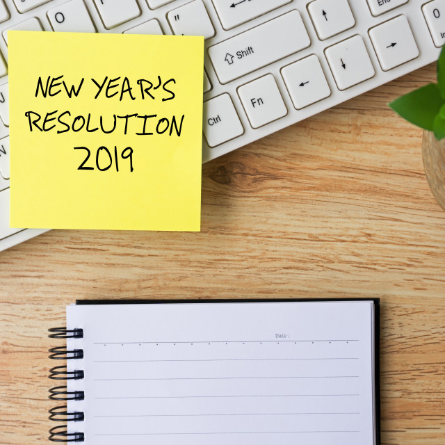 """New Year Resolutions 2019 written on sticky note"" stock image"