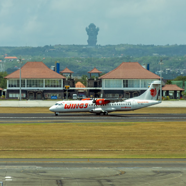 """Wings Airlines airplane landed at Ngurah Rai International Airport"" stock image"