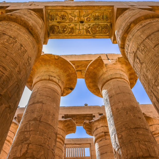 """""""Columns in the temple of Amon-Re at Karnak"""" stock image"""