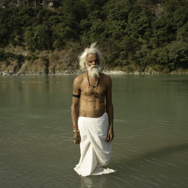 """""""A Sadhu bathing"""" stock image"""