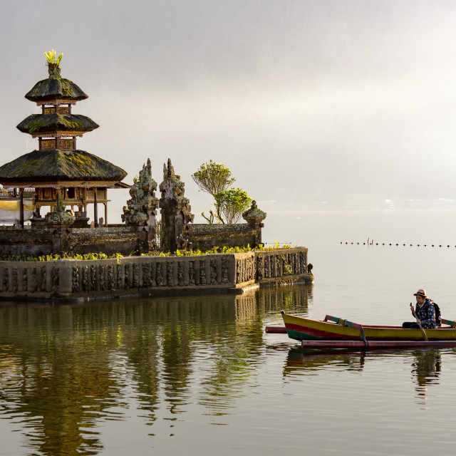 """Two people paddling at Pura Ulun Danu Bratan."" stock image"