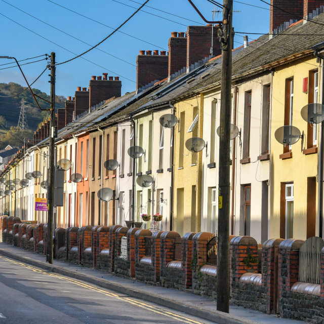 """""""Row of terraced houses in the South Wales valleys"""" stock image"""