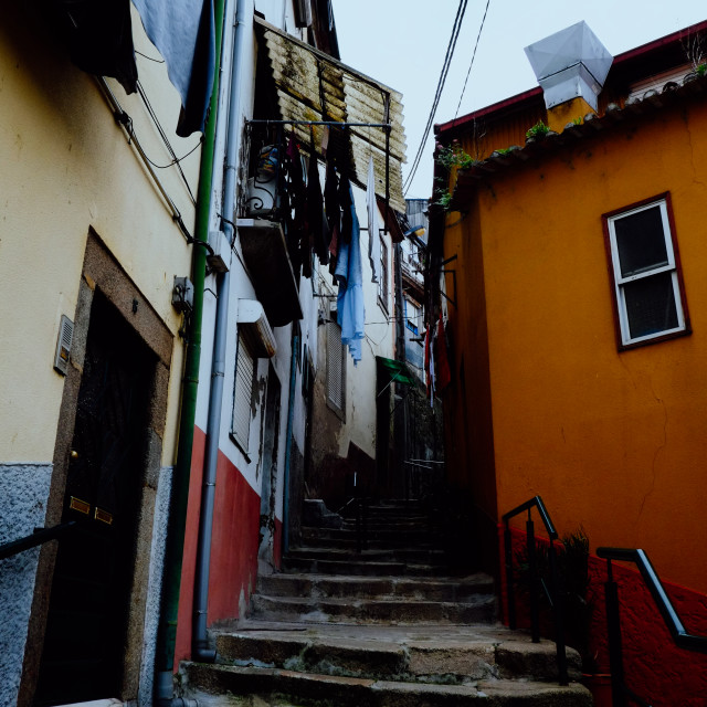 """""""typical small street alleys with stairs and colorful buildings of the city"""" stock image"""