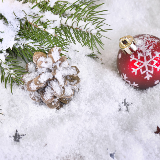 """christmas baubles in the snow"" stock image"