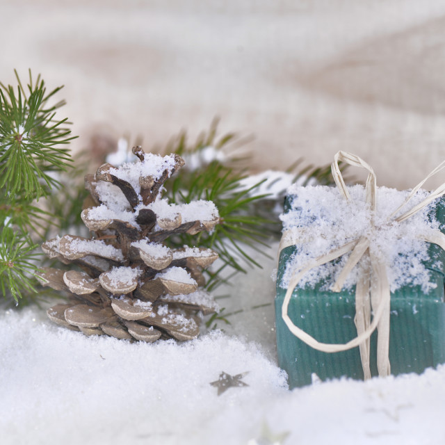 """christmas gift in winter decoration"" stock image"