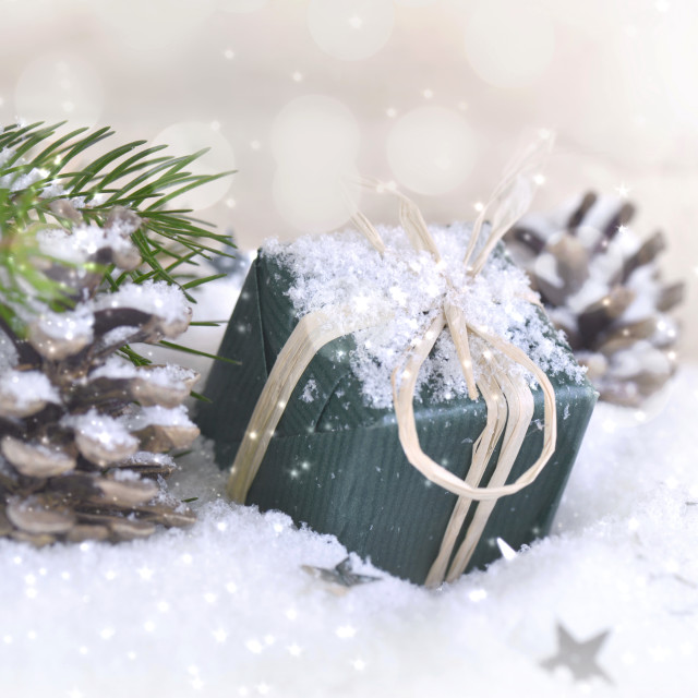 """christmas gift in the snow"" stock image"