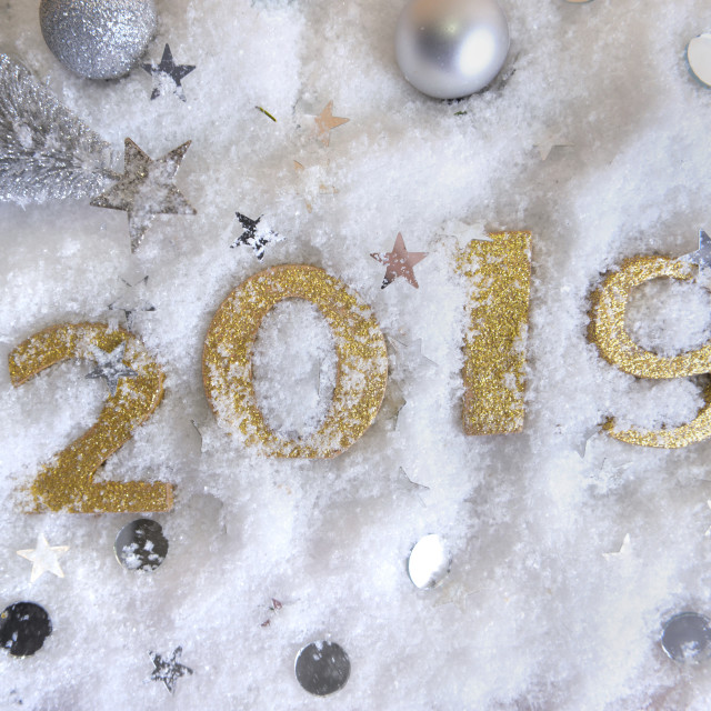 """2019 new year golden figures on the the snow"" stock image"