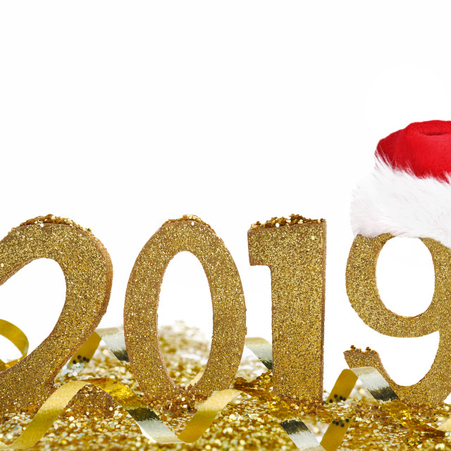 """2019 in golden figures for new year"" stock image"