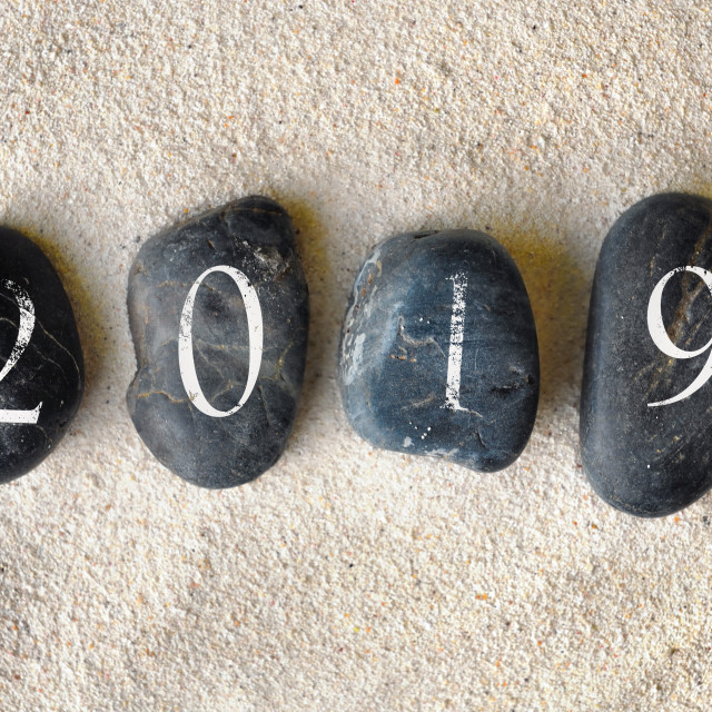 """2019 new year on pebbles"" stock image"