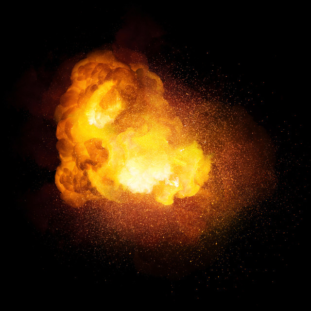 """""""Fiery bomb explosion, orange color with sparks and smoke isolated on black background"""" stock image"""