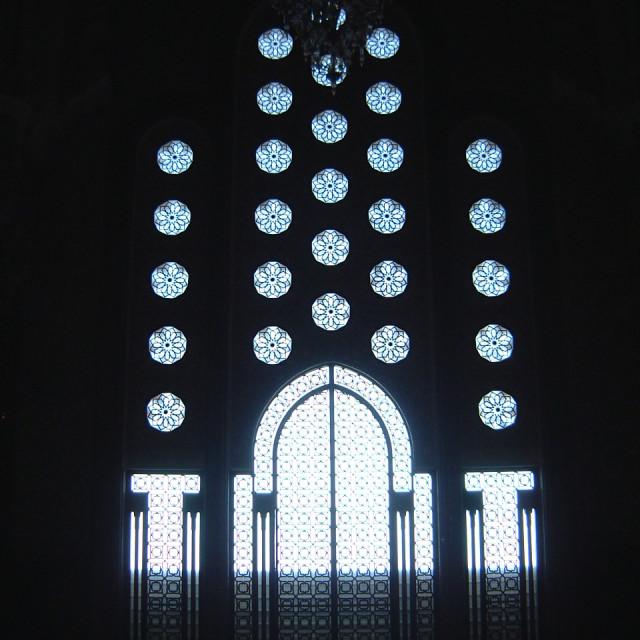 """""""Ornate Windows & Door, Hassan II Mosque"""" stock image"""
