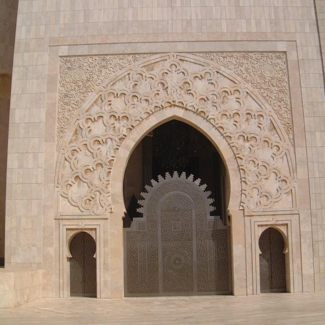 """Entrance to Hassan II Mosque, Casablanca"" stock image"