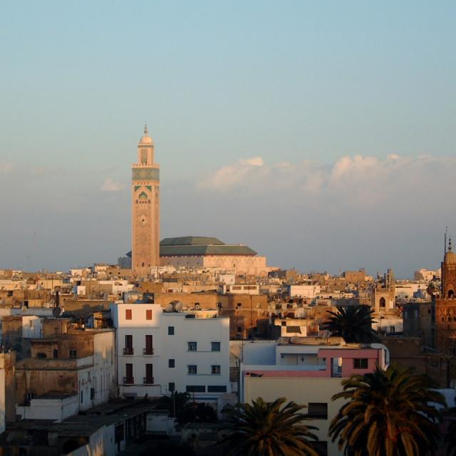 """""""View of Casablanca & Hassan II Mosque"""" stock image"""