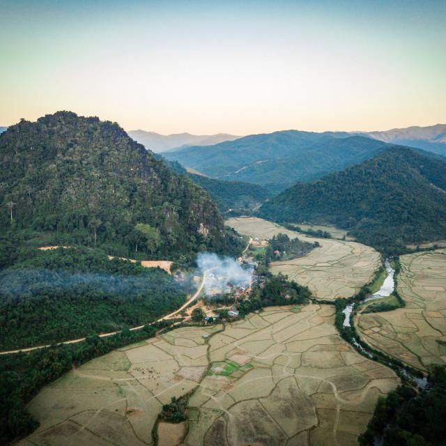 """""""Hidden Mountain Village at north Laos, Muang Ngoy"""" stock image"""