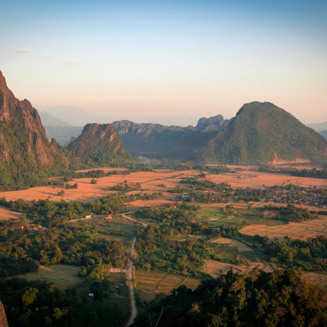 """Nam Xay View Point - Vang Vieng, Lao"" stock image"
