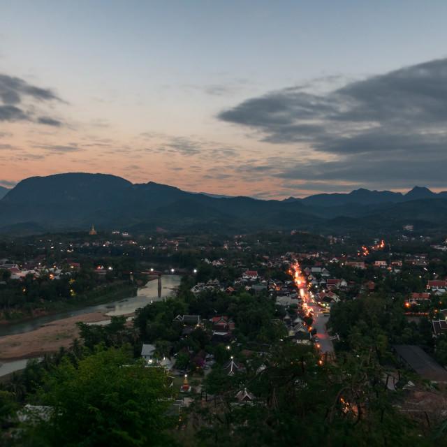 """View from Mount Phousi - Luang Prabang northern Laos"" stock image"