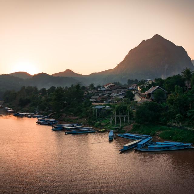 """""""Nong Khiaw Pier at northern Laos"""" stock image"""