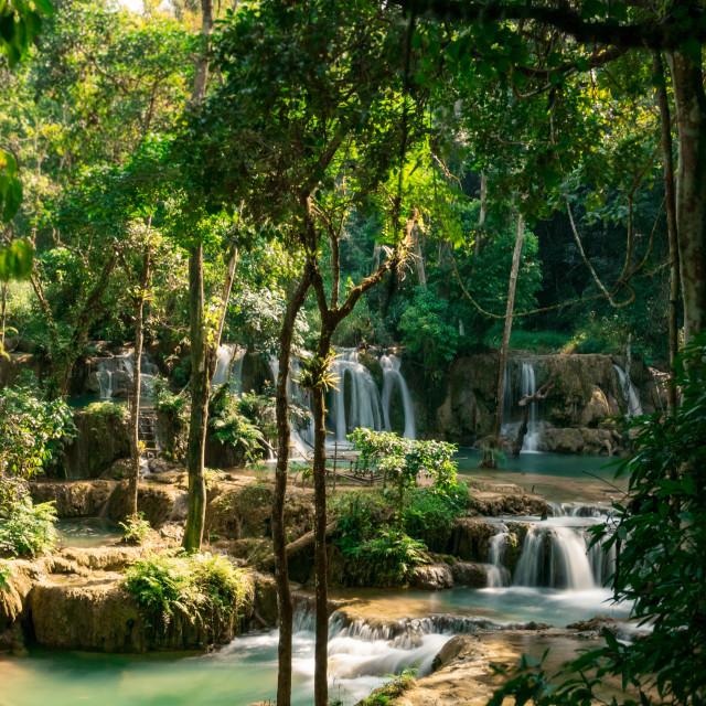"""Tad Sae Watefall - Luang Prabang northern Laos"" stock image"