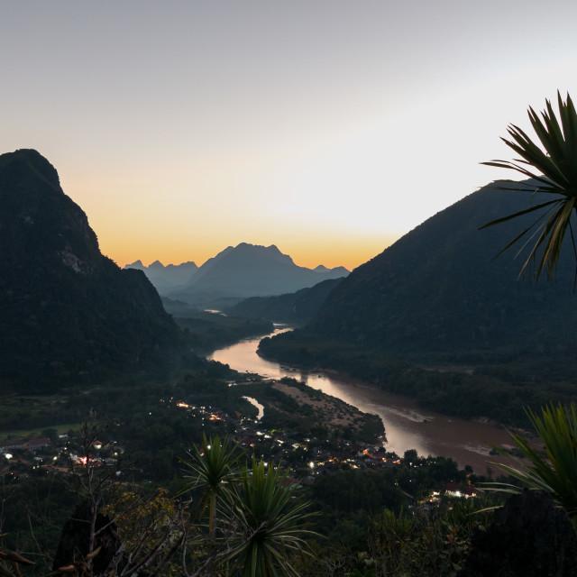 """Viewpoint in northern Laos - Muang Ngoy"" stock image"