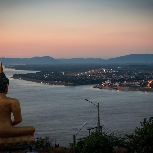"""""""Pakse Lao - View from Pu Salao Golden Buddha"""" stock image"""