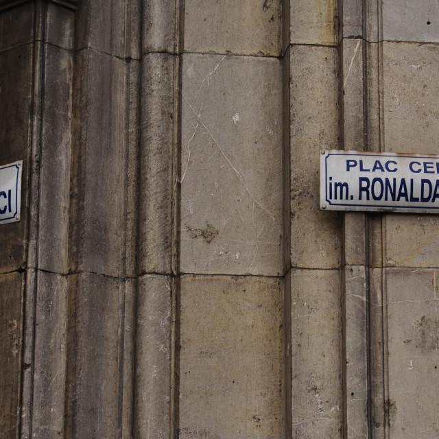 """Krakow: Nowa Huta street signs"" stock image"