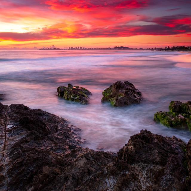 """Dawn Currumbin Rocks"" stock image"