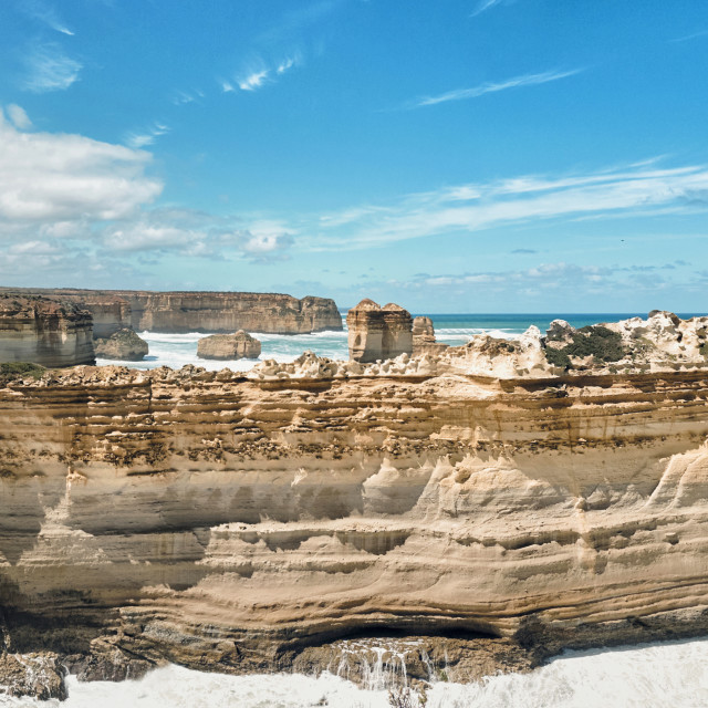 """Panorama of the Razorback, Great Ocean Road"" stock image"