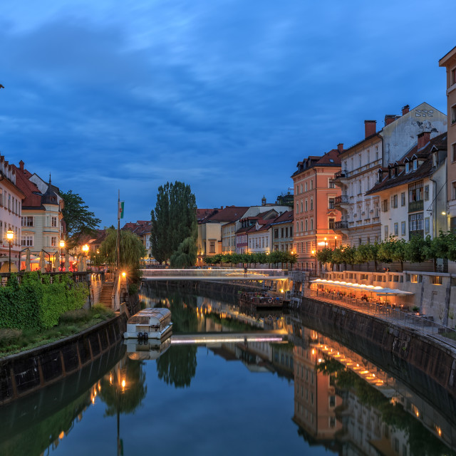 """Ljubljanica at night"" stock image"