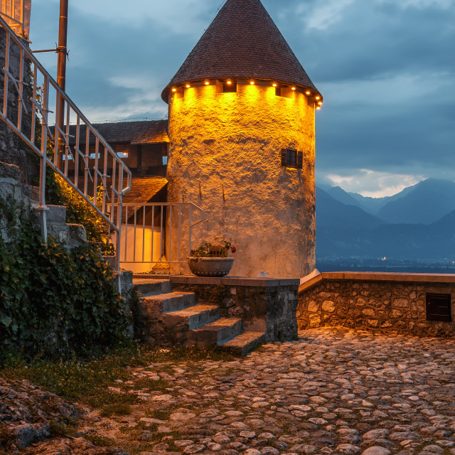 """Bled Castle (Blejski grad) in Bled"" stock image"