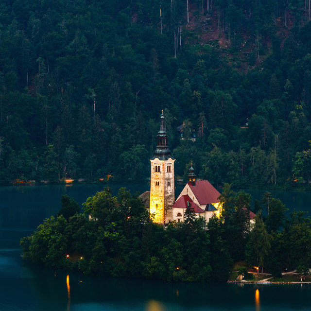 """""""View of famous island and Church of Bled"""" stock image"""