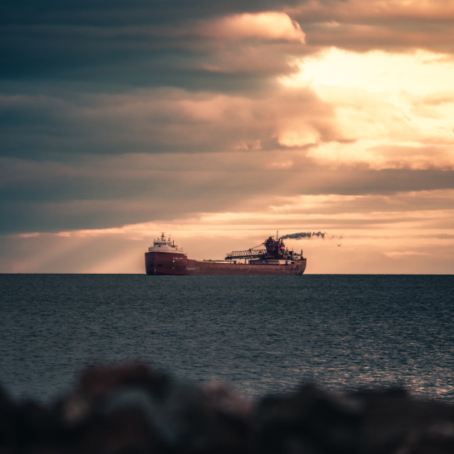 """Lake Superior Freighter Sunset"" stock image"