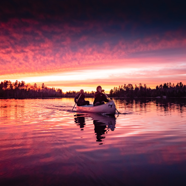 """""""Canoe Sunset Paddle"""" stock image"""