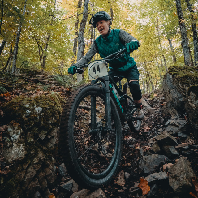"""Enduro Mountain Biker Rock Garden"" stock image"